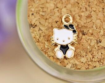 Bulk 50 Enamel Hello Kitty Charm Pendant - Jewelry making - LG\JC087