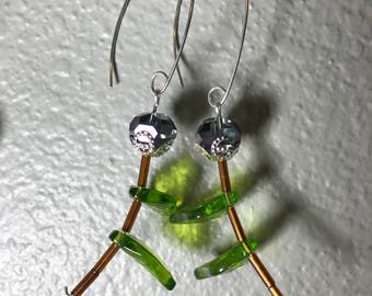 Glass flowers on sterling silver ear wires