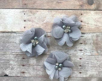 "2"" Chiffon Flower, Gray rhinestone and pearl flower, DIY Hair Accessories, Craft Supplies, Wholesale flowers, Baby headband supply"