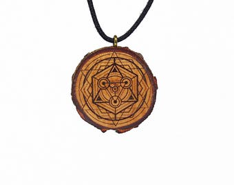 "Soul slices ""sacred geometry 1"" wooden necklace, Vintage * Ethno * hippie * MUST have * statement *"