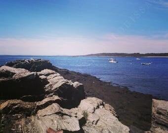 Photography Wall Art Print Summer Coastal Maine Ocean Shore Waves Beach Nautical Water Vacation Nature Boat Shoes