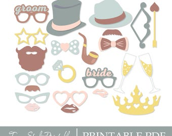PRINTABLE PDF Bridal Shower Photo Booth Props - PDF file - Bridal shower party - Mustaches, Lips, Glasses