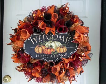 Fall Wreath, Front Door Wreath, Autumn Wreath, Fall Deco Mesh Wreath, Fall Decorations~Ready to Ship~