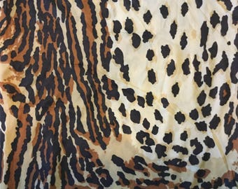 Vintage Jersey Knit Animal Print Fabric; 1970s Fabric; Cheetah Print Fabric; Tiger Print Fabric