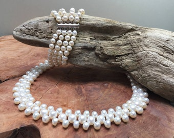 Romantic white fresh water pearl jewelry set / necklace / bracelet