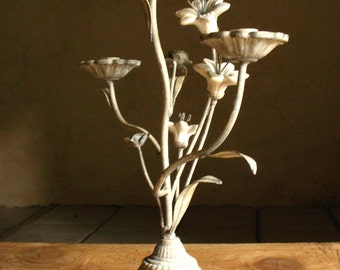 French 3 arm wrought iron Candelabra with porcelain flowers. 1920s