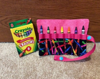 "FREE US SHIPPING, Crayon roll up storage with pink trim, Crayon carry case, snap close Crayon roll, multiple colors available, 5"" x 5.75"""