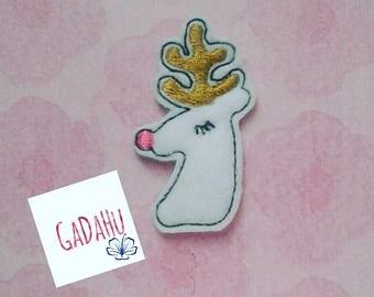 Cute Reindeer feltie. Embroidery Design 4x4 hoop Instant Download. Felties