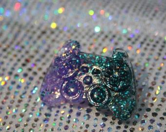 Kawaii Glitter Gamer Resin Conteroller Pin