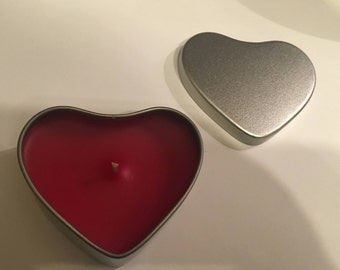Heart shaped tin candle