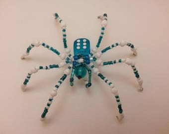 Blue and White D6 Beaded Spider