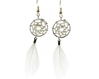 Boho dreamcatcher white feather earrings