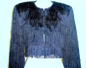 Vintage Black Fringe Jacket