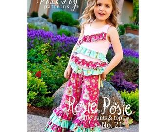 Pink Fig Patterns Rosie Posie Ruffle Pants