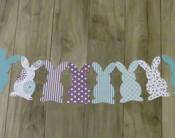 Bunny Garland, Bunny banner, First Birthday, Rabbit Banner, Easter Banner, Easter Garland, baby shower banner, spring banner, Bunny Party