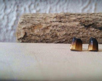 Mountain Volcano Wooden Earring Stud