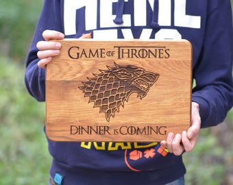 Got Cutting Board, Game of Thrones Cutting Board Gift, Dinner is Coming, House Stark, Personalized Gift for Him for Her, Kitchen Decor