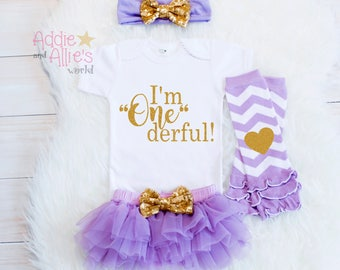 1st Birthday Girl Outfit, First Birthday Outfit Girl, Cake Smash Outfit Girl, Lavender and Gold 1st Birthday Outfit, Cake Smash Outfit, B3LG