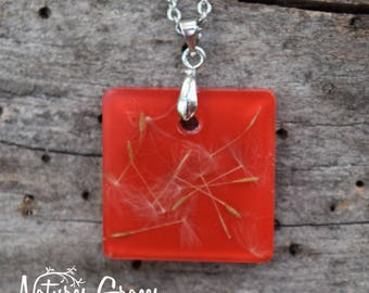 Red Dandelion Seed Necklace / Square Shaped Pendant with Embedded Dandelion Seeds