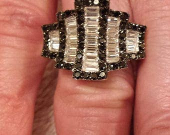Vintage Gatsby White Topaz Baguette & Black Onyx Gemstone Art Deco  Sterling Silver Ring, 6 ct.  Size - 7