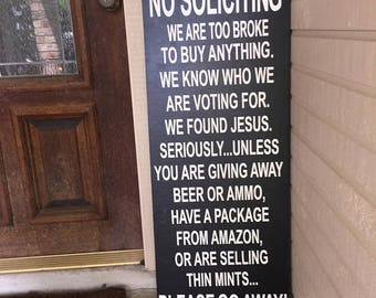 No Soliciting Sign, front porch sign, large no soliciting sign, do not knock, do not ring doorbell, wooden sign, funny no soliciting sign