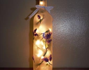 Lavender Floral Decorative Bottle/ Light Up Vase