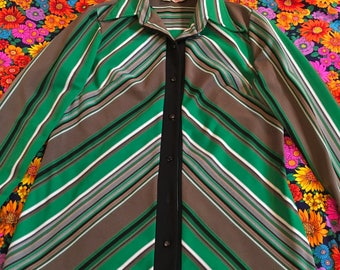 Vintage Striped H Bar C Polyester Western Fashion Top Green Op Art Chevron French Cuff Shirt Big Pointy Butterfly Dagger Collar