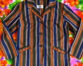 Vintage Striped Blazer Jacket Coat Koret of California Suit Green Blue Vertical Stripes Mod 1970s