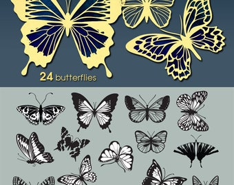 24 Butterflies Vector Digital Cut Files Svg Dfx Eps Png Silhouette SCAL Cricut Printable Download for DIY Paper Vinyl Die Cutting JB-190