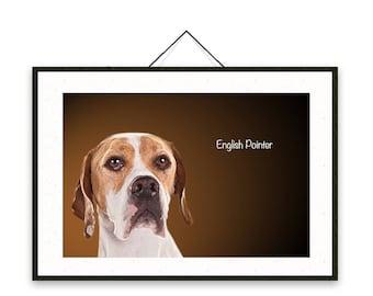 English Pointer - Dog breed poster, wall sticker, nursery decor, dog print, nursery print, shabby print   Tropparoba - 100% made in Italy