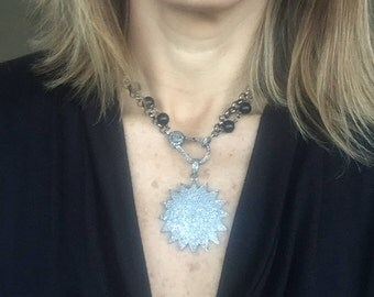 Sun silver pave diamond pendant