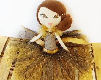Cloth Doll, Heirloom Rag Doll, OOAK, Diamante, Princess, Black and Gold Sparkle, Nursery Decor