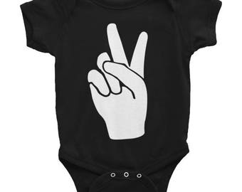 PEACE hand sign - Infant Bodysuit / onesie / romper