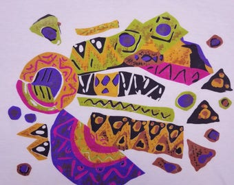 Vintage 80s Abstract Design Vaporwave Pattern Modern Art Single Stitch T Shirt Size Large