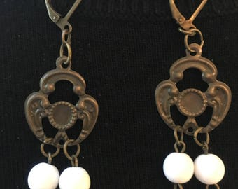 Spanish filigree with white beads