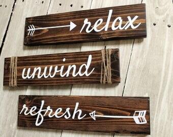 Bathroom Sign, Rustic Bathroom Wood Sign, Bathroom Decor, Bathroom Wall Art, Rustic Decor, Farmhouse Decor, Bathroom Wall Art, Relax Unwind