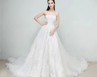 Selena Huan Beaded Baroque-Pattern French Lace Strapless Ball Gown Wedding Dress - New Samples, 65% OFF
