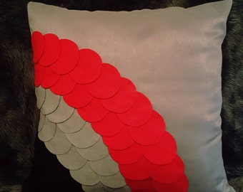 Designer, 3D Red-Mixed Circle Decorated Luxury Cushion Cover, Throw Pillow
