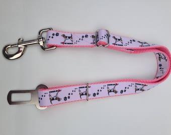 Dog Seat Belt, Seatbelt Leash, Dog Car Safety Leash, Pink I Love my Beagle Safety Belt, Pink Car Leash