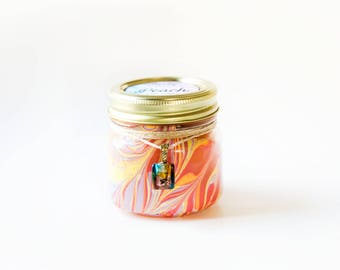 Peach Candle (8 Oz.) - Hand Poured Candle - Handmade Candle - Mason Jar Candle - Unique Candle - Decorated Candle - Painted Candle - Wax