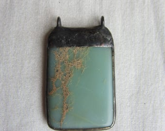 Hand Soldered Large African Opal Pendant