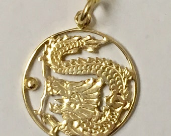 14K Yellow gold Dragon Pendant