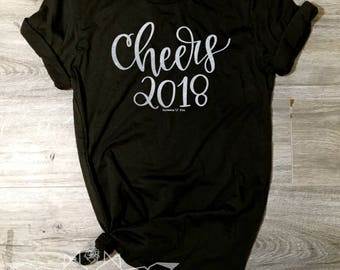 New Years Eve Shirt, Cheers 2018 Shirt, Cheers Shirt, NYE Tee, Cheers 2018 Shirt, Women's New Years, Ring in the New Year, Silver SHIMMER