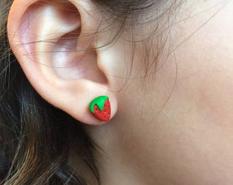 Strawberry stud earrings, earrings for girls, gift for kids