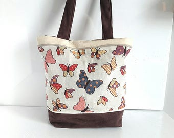 purse, Tote, tote bag, shoulder bag, shove all in brown suede and fabric butterflies