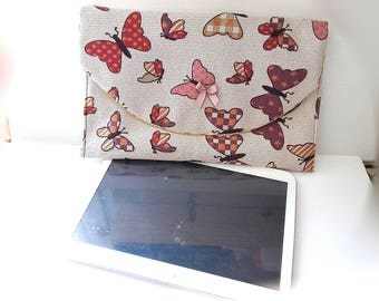 computer PC flat small IPad Tablet cover, protects tablet computer. computer case beige fabric printed butterflies