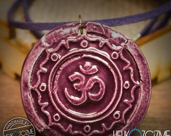 OM / Dark Purple (Old Effect) - Handmade Ceramic Necklace