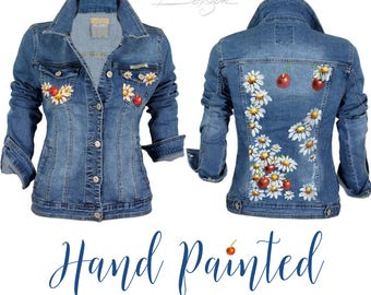 Jean Jacket with Hand Painted Cherries, Cherry Denim Jacket, Handpainted Daisies Jacket, Jean Jacket, Handpainted Cherries Daisies Jacket