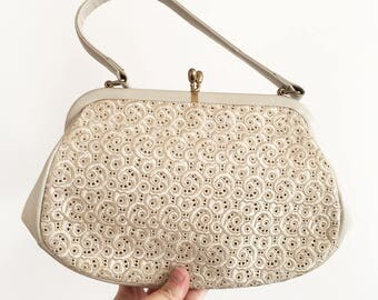 Vintage 1960s lace and vinyl Bag Purse - womens ladies fashion #071