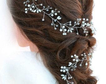 Long Hair Vine Beaded Wreath Bridal Hair Halo Crystal Hair Vine Beaded Hair Accessories Pearl Headband Beaded Headpiece FREE SHIPPING